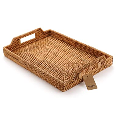 Hand-Woven Rattan Rectangular Serving Tray with Handles for Breakfast, Drinks, Snack for Coffee Table (17x11.4inches, Natural)