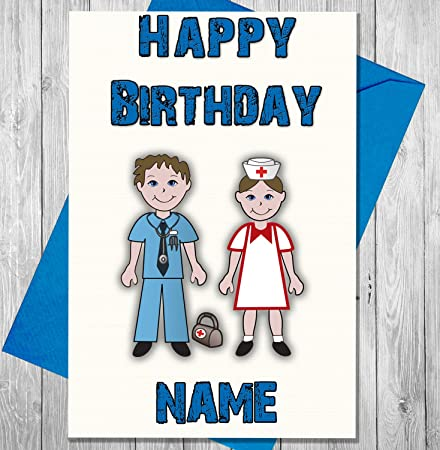 Doctor and nurse personalised birthday card any name and age doctor and nurse personalised birthday card any name and age printed on the front bookmarktalkfo Images
