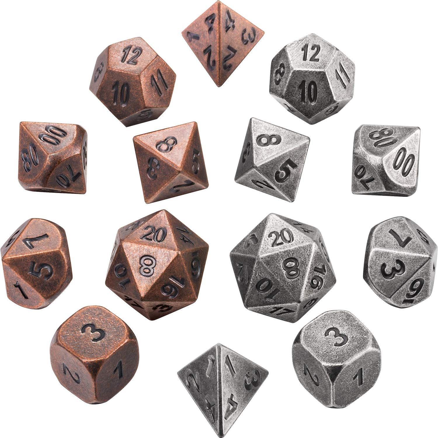 Jovitec 14 Pieces Metal Solid Zinc Alloy Game D&D Dices Set Durable Polyhedral Dice with Printed Numbers and Velvet Storage Bags for Game, Dungeons and Dragons, RPG, Math Teaching