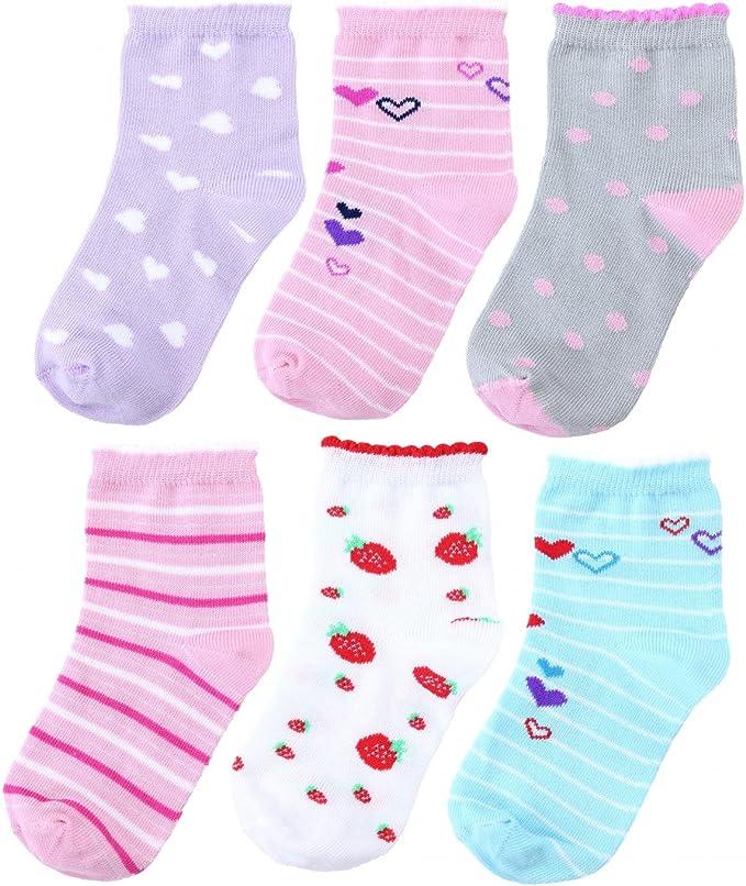 TupTam - Juego de 6 calcetines de algodón para niña, colores ...