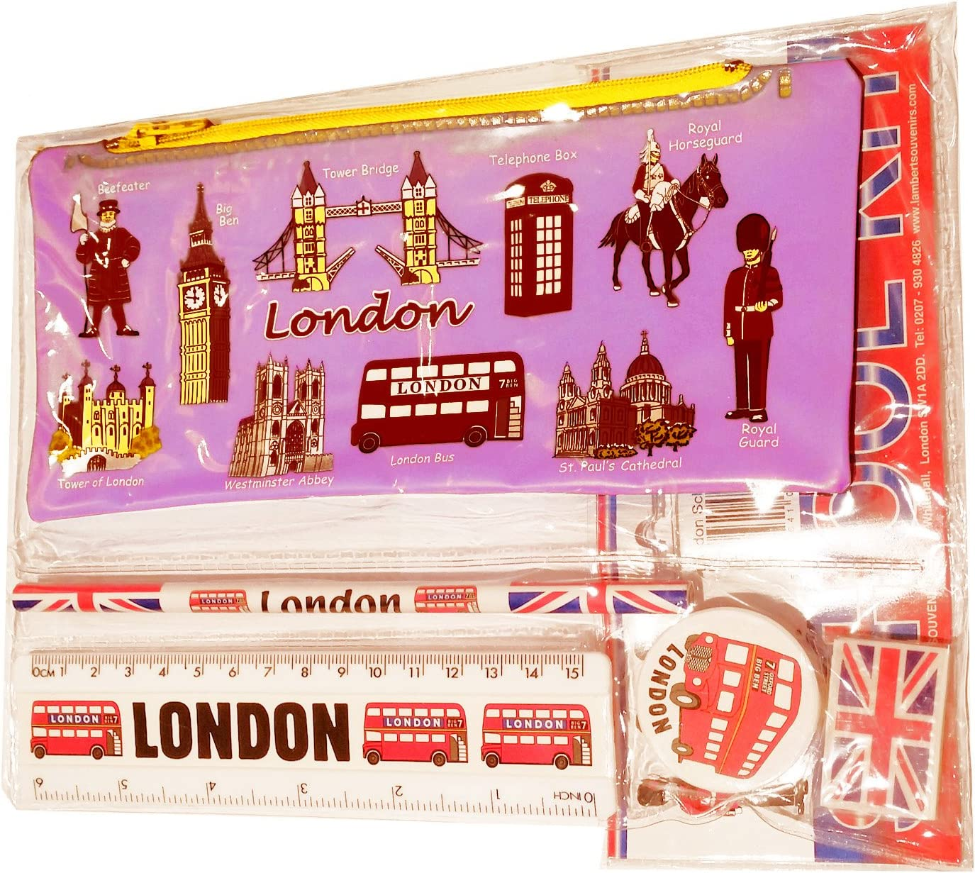 Black Cab // Red Phone Box // London Bus // Royal Gua - Trousse // Federmappchen // Caja de Lapices // Astuccio #1 Bestselling All In One School Kit London Souvenir Pen // Pencil Case Pink Eraser // Rubber Ruler EVERYTHING LONDON inches//cm Sharpener