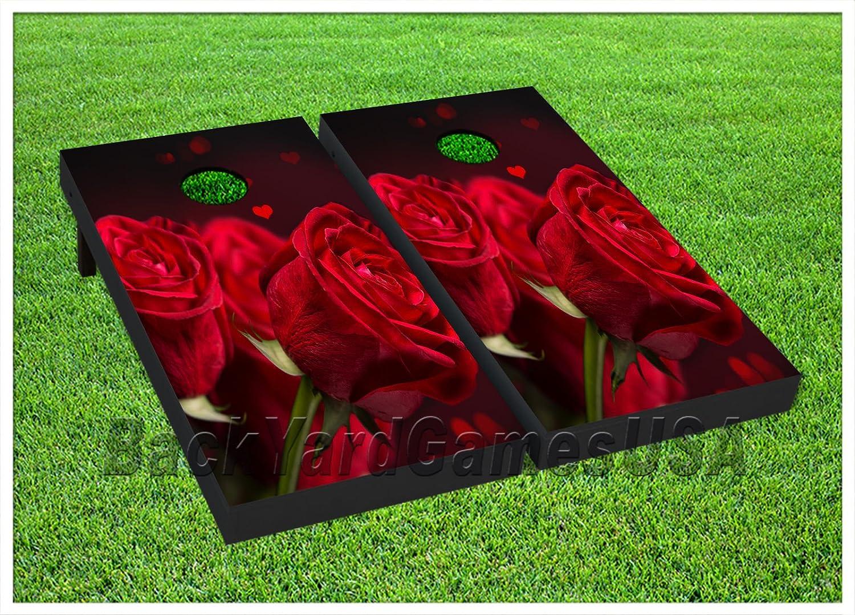 ビニールラップCornholeボードデカールLove Red RosesバッグToss Gameステッカー199   B0765DHD6N