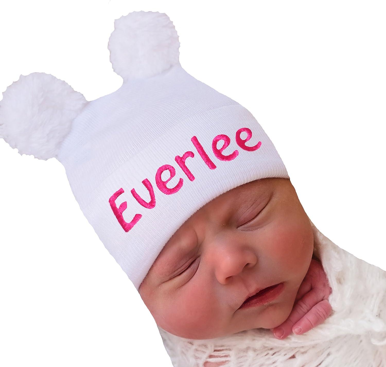 Melondipity White Fuzzy Bear Ears Newborn Girl Hospital Hat with Personalization