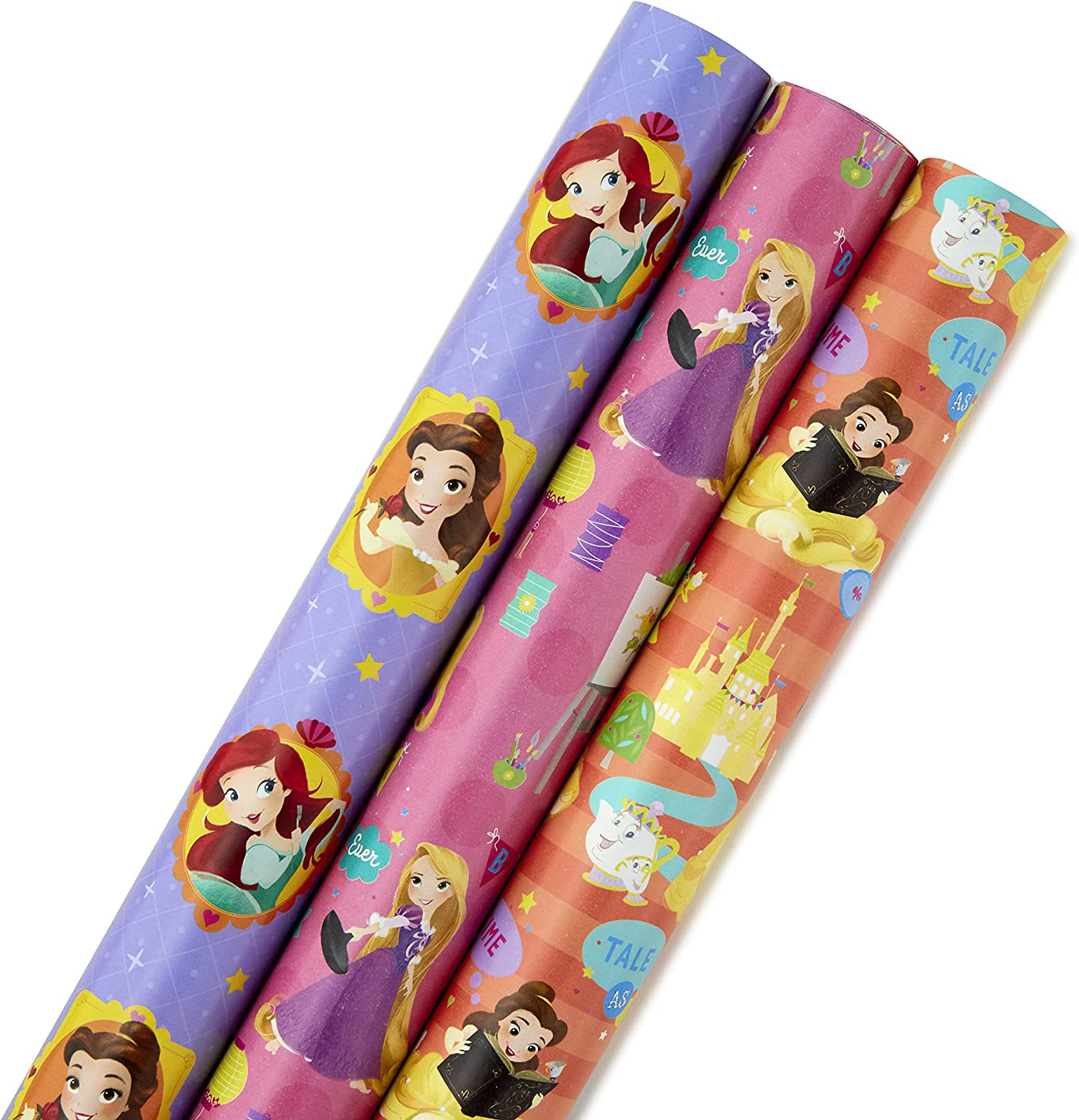 Hallmark Disney Princess Wrapping Paper with Cut Lines (Pack of 3, 105 sq. ft. ttl.) with Belle, Ariel, Cinderella, Rapunzel and More for Birthdays, Christmas or Any Occasion: Kitchen & Dining