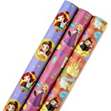 Hallmark Disney Princess Wrapping Paper with Cut Lines (Pack of 3, 105 sq. ft. ttl.) with Belle, Ariel, Cinderella…