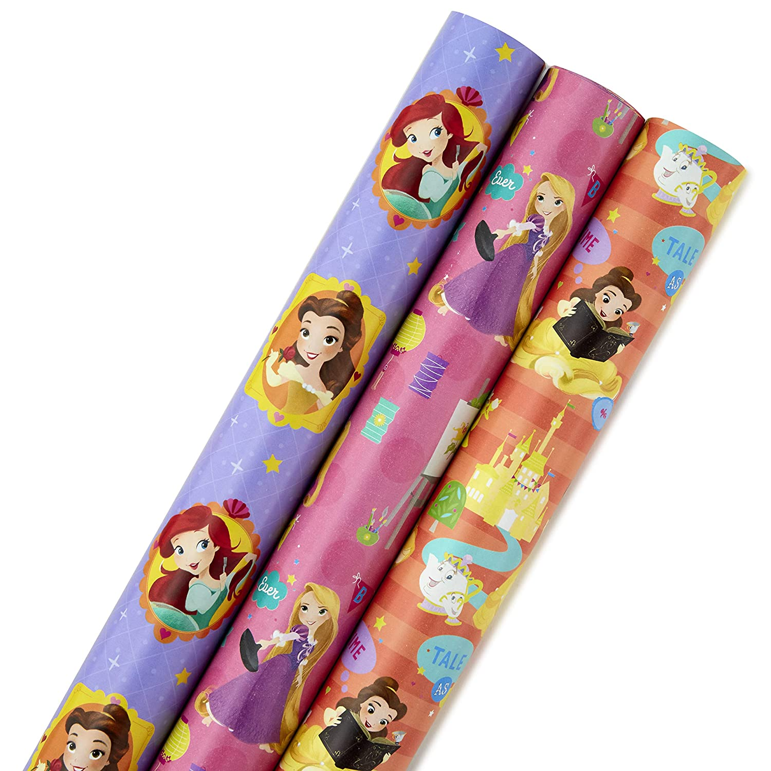 Hallmark Disney Princess Wrapping Paper with Cut Lines (Pack of 3, 105 sq. ft. ttl.) with Belle, Ariel, Cinderella, Rapunzel and More for Birthdays, Christmas or Any Occasion