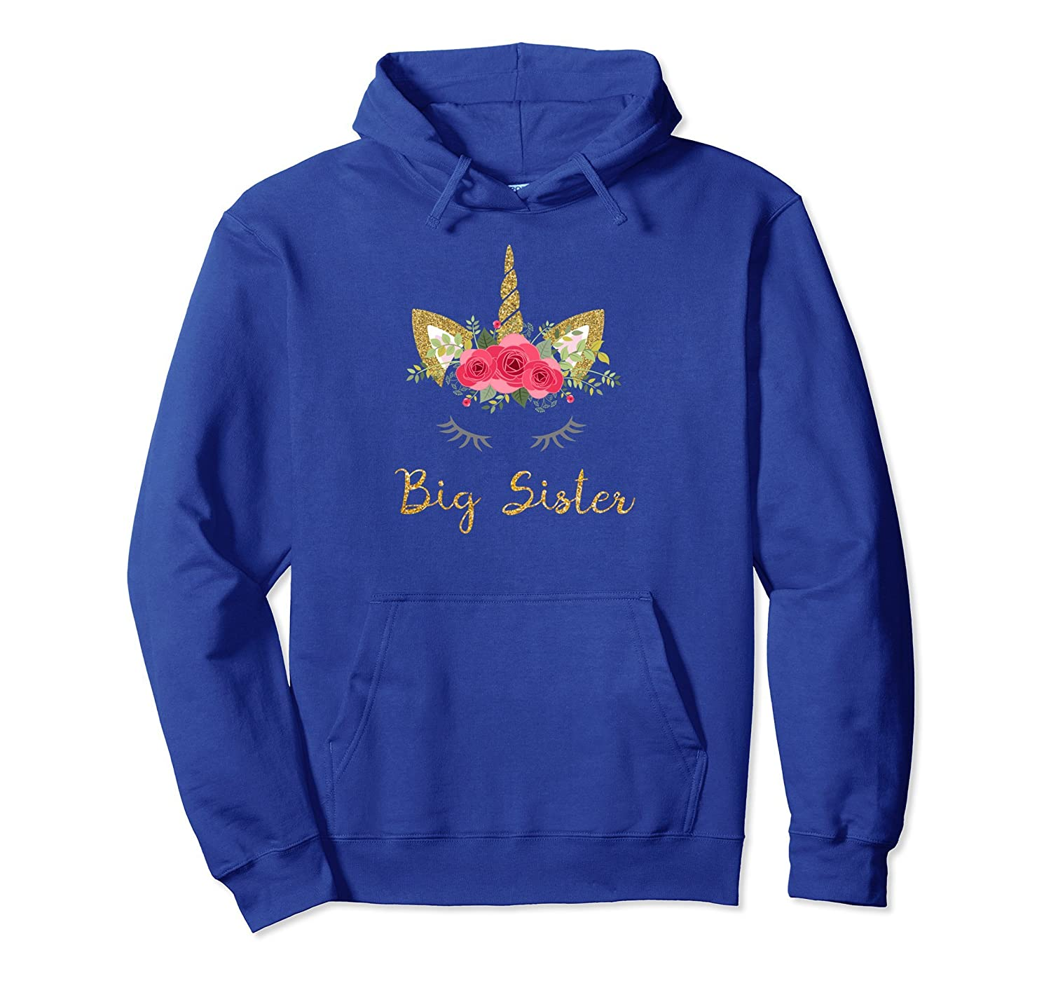 Unicorn Big Sister Faux Gold Glitter Pullover Hoodie-TH