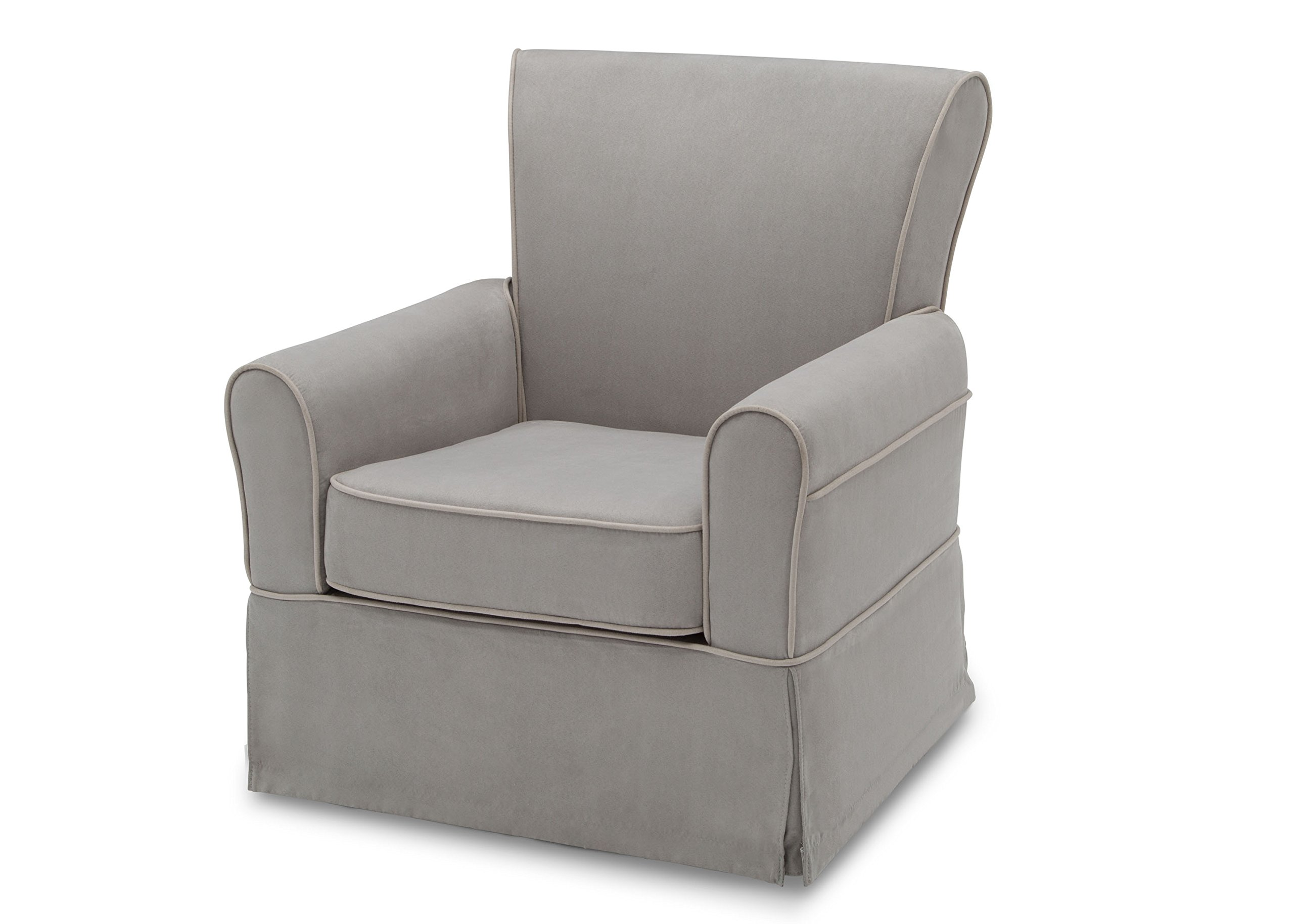 Delta Furniture Benbridge Upholstered Glider Swivel Rocker Chair, Dove Grey with Soft Grey Welt