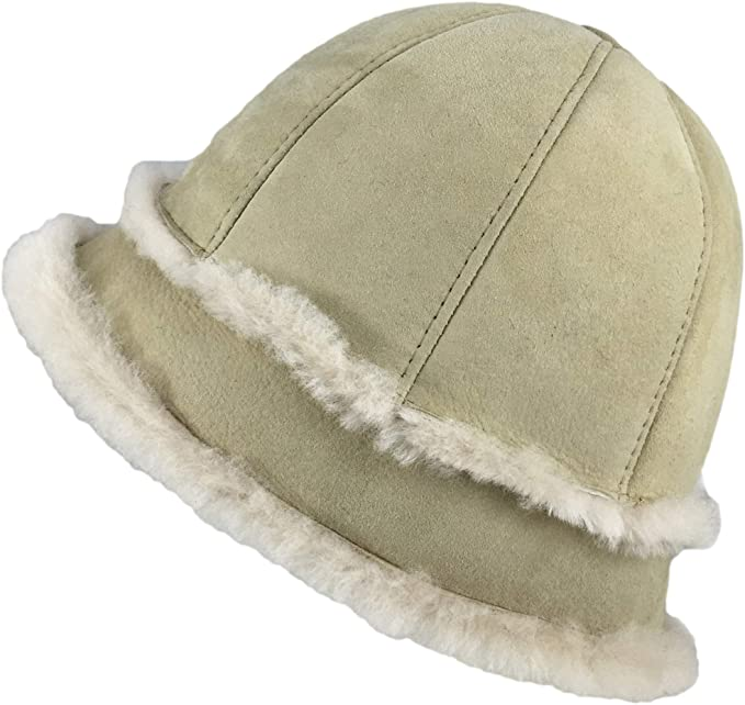 1a0a344f Zavelio Women's Shearling Sheepskin Winter Fur Bucket Beanie Hat Medium  Cream: Amazon.ca: Clothing & Accessories