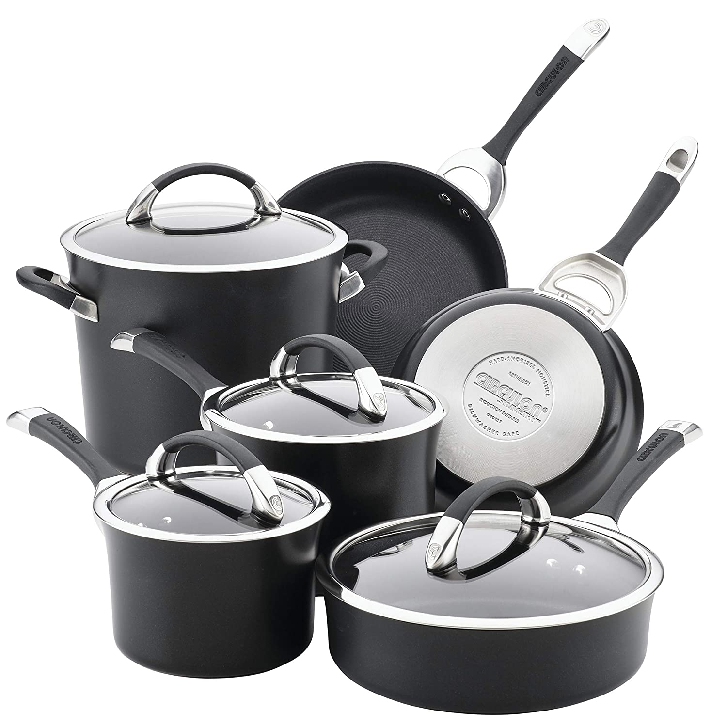 Circulon Symmetry Hard Anodized Nonstick Cookware Set, 10-Piece, Black