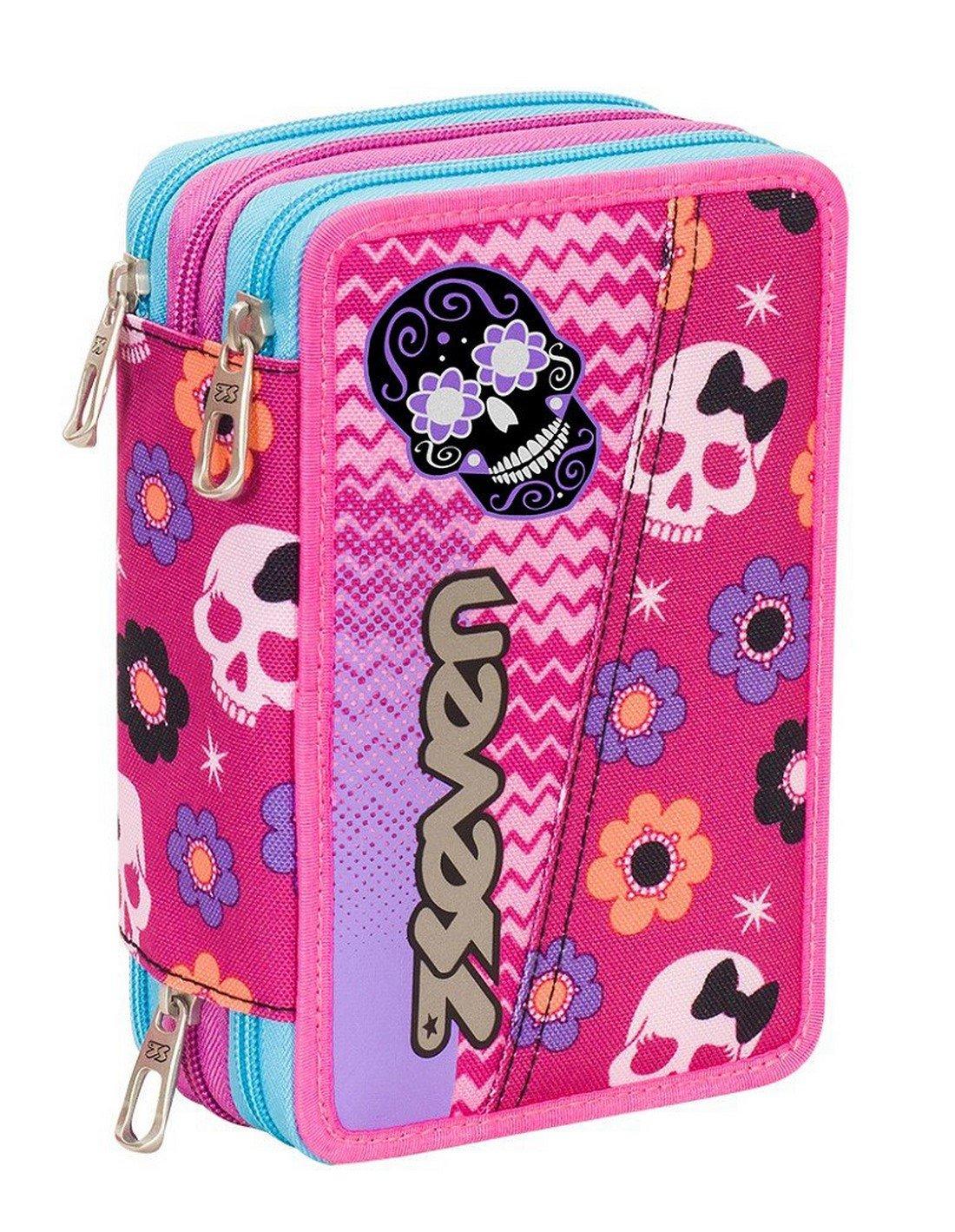 ASTUCCIO scuola SEVEN - MEXI GIRL - 3 scomparti - pennarelli matite gomma ecc.. Rosa Seven S.P.A.