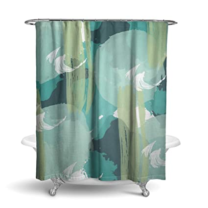 Amazon Olive Mint Green Abstract Fabric Shower Curtain Home