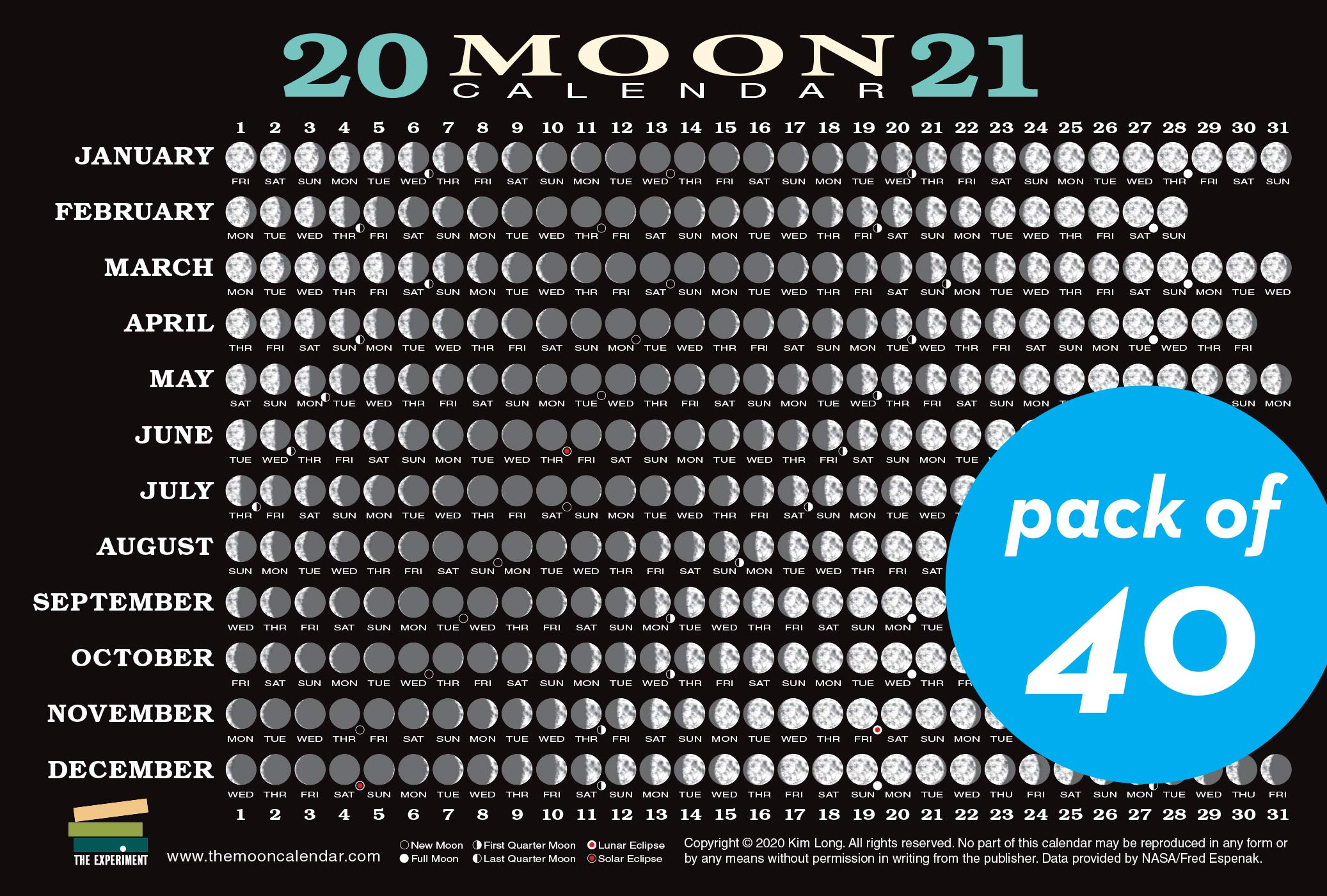 Moon Cycle Calendar 2021 2021 Moon Calendar Card (40 pack): Lunar Phases, Eclipses, and