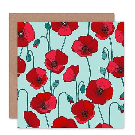 POPPY POPPIES FLOWER PATTERN BLUE RED BLANK GREETINGS BIRTHDAY CARD ART