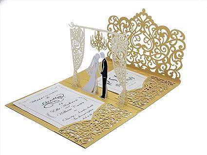 amazon com pop up wedding invitations with gold laser cut pocket