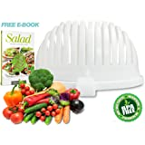 Salad Cutter Bowl by Home King / 3-in-1 Vegetable Slicer - Salad Spinner & Vegetable Serving Bowl / One Minute Healthy Delicious Salads, Includes Free Salad Recipes E-Book
