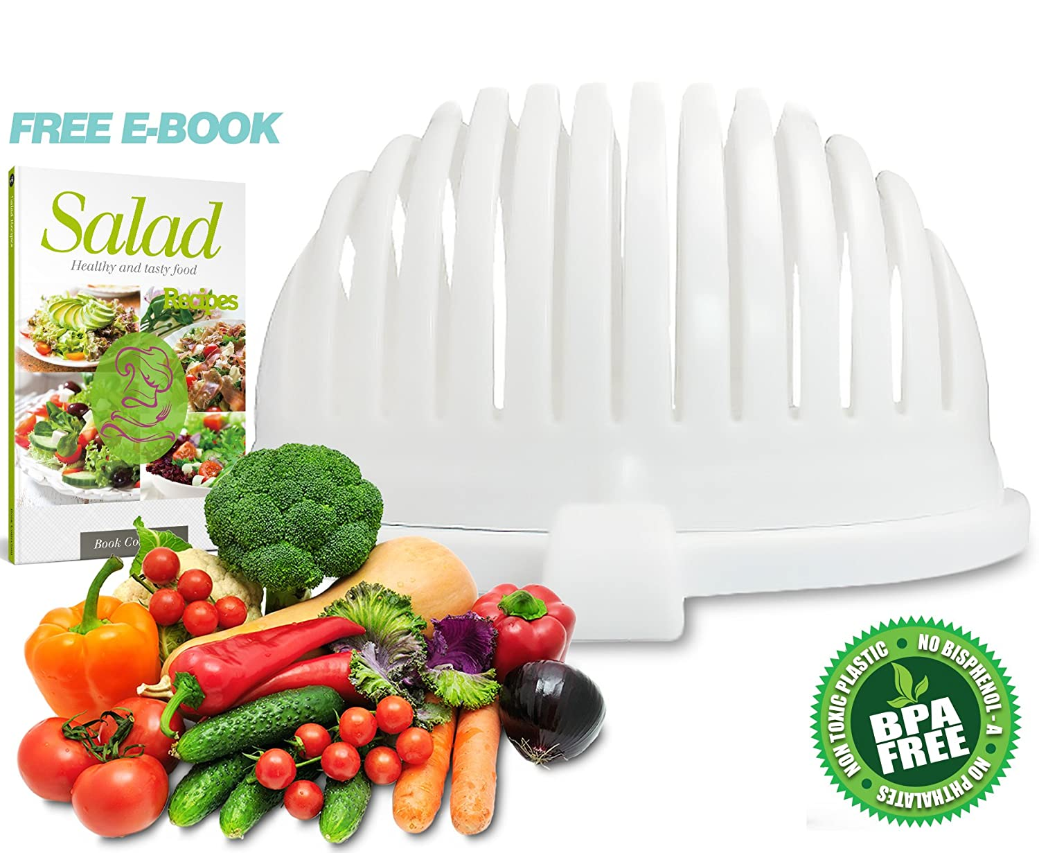 Amazon.com | Salad Cutter Bowl by Home King / 3-in-1 Vegetable ...