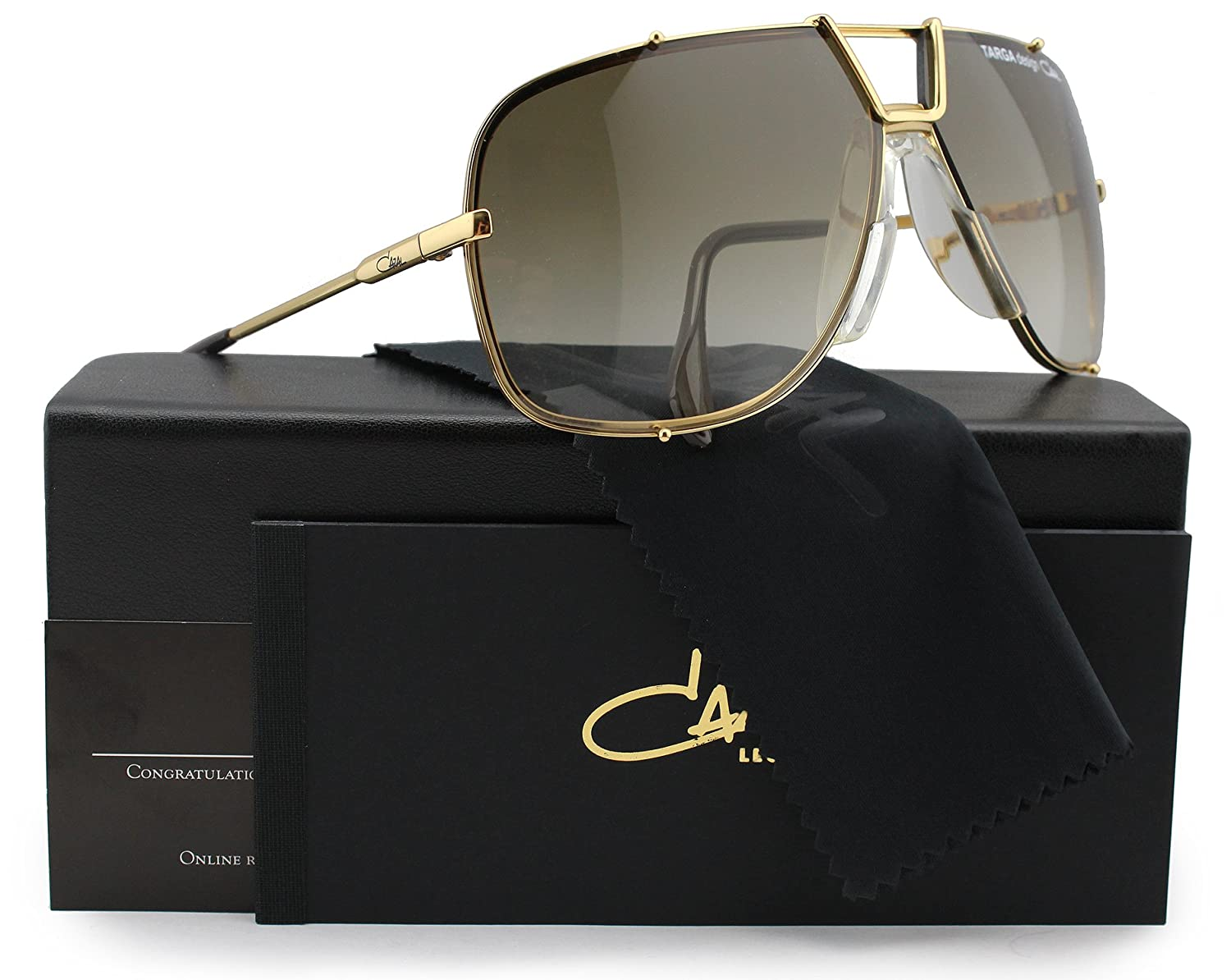 413be9937c54 Amazon.com  Cazal Targa Design 902 Sunglasses Shiny Gold w Brown Gradient  (097) 66mm Authentic  Clothing