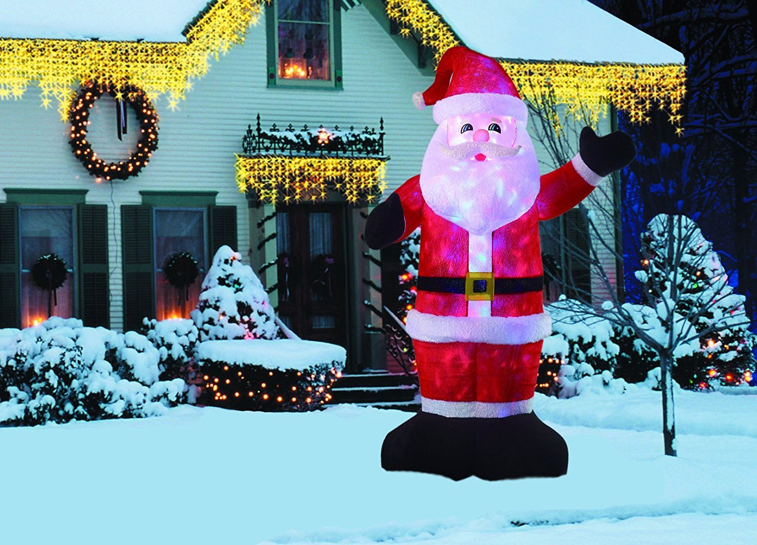 New 8 FT Inflatable Plush Santa Clause With 2pcs Disco Lights Christmas X'mas Decoration by Beyond Shop USA (Image #1)