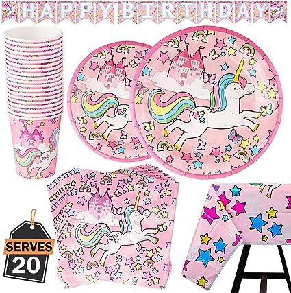 Amazon.com: Juego de 82 piezas de servilletas de unicornio ...