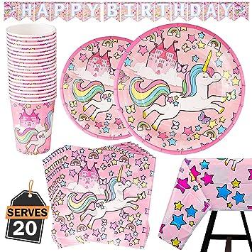82 Piezas–Vajilla Diseño de Unicornio Desechable–Accesorio de Decoración de Fiesta de Cumpleaños-Apoyo para Celebración–Pancarta,Platos, Vasos, ...