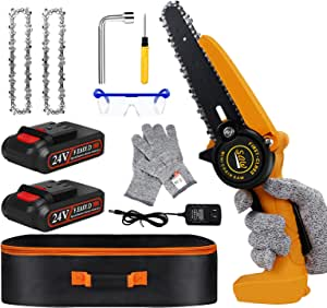 Mini Chainsaw - 6 Inch Electric Chainsaw with 2 Battery,Cordless Chainsaw with Safety Lock , Mini Chainsaw Cordless for Branch Wood Cutting, Garden Pruning, Tree Trimming(2 Battery 2 Chain 1 Bag)