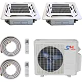 COOPER AND HUNTER Dual 2 Zone Ductless Mini Split Ceiling Cassette Air Conditioner Heat Pump 9000 12000