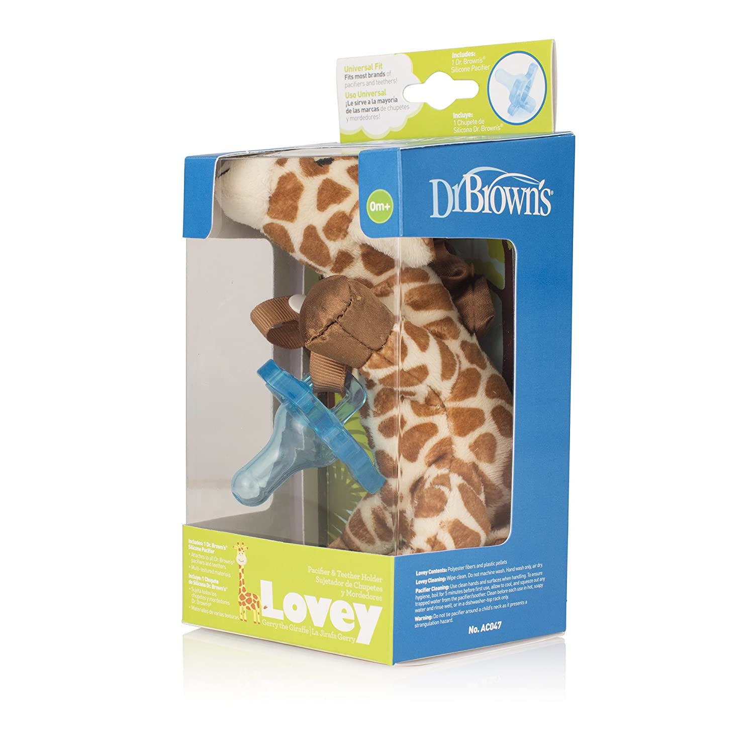 Amazon.com : Dr. Browns Lovey Pacifier and Teether Holder, 0 Months Plus, Giraffe with Blue Pacifier : Baby