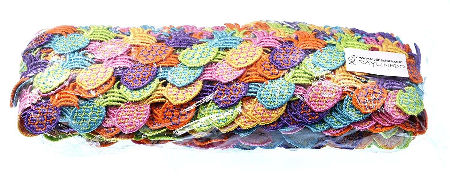 RayLineDo 15 Yards Colorful Flower DIY Lace Applique Sewing Craft Lace Edge Trim Ribbon Edging Trimmings Fabric Embroidery Polyester for Wedding Dresses Embellishment DIY Party Decor Clothes