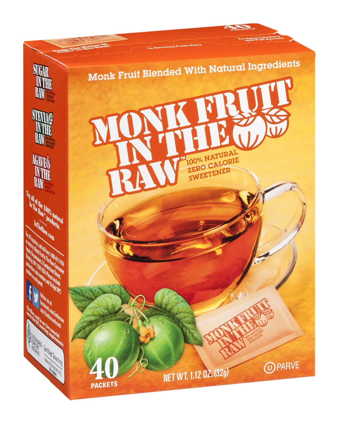 Monk Fruit In The Raw Zero Calorie Sweetener, 40 Count Boxes (PACK OF 4)