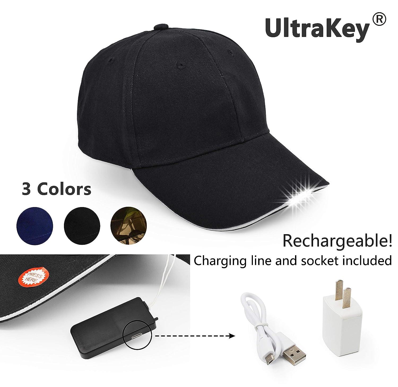 UltraKey Hands Free LED Baseball Cap Light Glow Bright Women Men Sport Hat Dark for Outdoor Jogging Breathable Snapback Hats Hip Hop Party Holiday