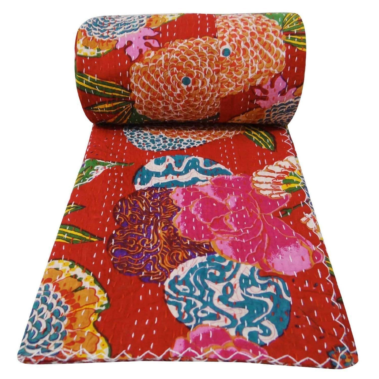 インドハンドメイドフルーツ印刷ツインサイズRalli Kanthaキルトベッドスプレッド毛布ツインキルト60 x 90インチ B074K3CHV3