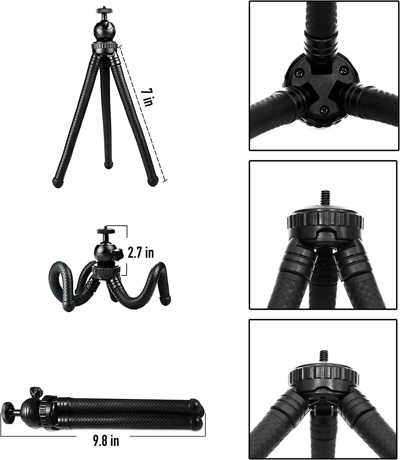 Sports Camera GoPro Flexible Cell Phone Tripod Adjustable Camera Stand Holder with Wireless Remote and Universal Clip 360/° Rotating Mini Tripod Stand for iPhone Samsung Android Phone Phone Tripod
