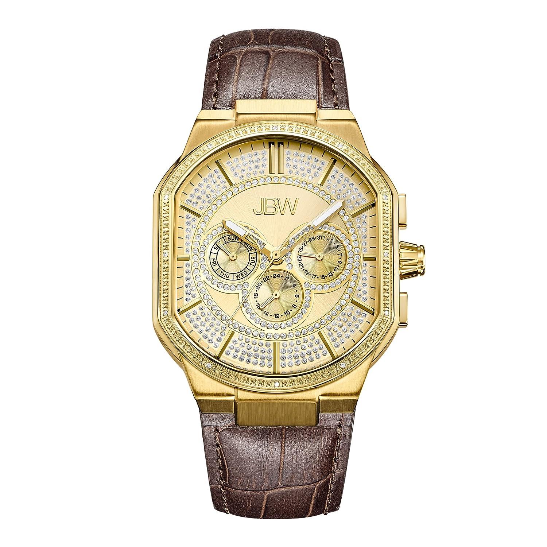 JBW Luxury Men s Orion 0.12 Carat Diamond Wrist Watch with Leather Bracelet