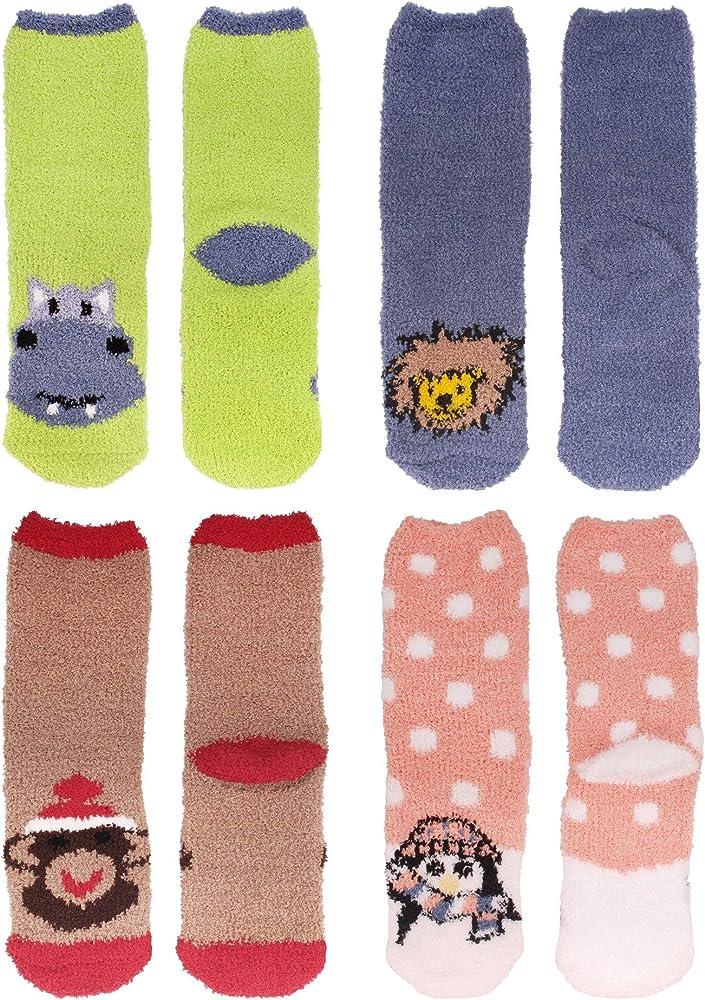 Women/'s Super Soft Warm Microfiber Fuzzy Cozy Fluffy Cute Animal Socks 8 Pairs