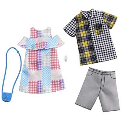 Barbie Fashion Pack with 1 Outfit of Gingham Patterned Dress & 1 Accessory Doll & Plaid Shirt, Shorts & Accessory for Ken Doll, Gift for 3 to 8 Year Olds: Toys & Games