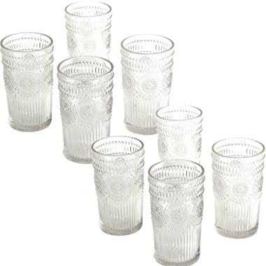 The Pioneer Woman Adeline 16-Ounce Emboss Glass Tumblers, Set of 4 Clear - 2 Pack