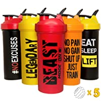 JEELA SPORTS Protein Shaker Bottles 5 Pack - 24 Oz- Cups with Shakers Ball - Shake Bottle set - Bpa free cup - Powder Mixer for mixes - Leakproof shakes lids - Workout - Motivational Design