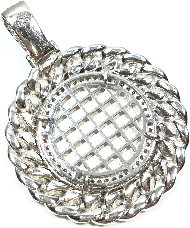 UNITEDEAL 925 Sterling Silver 40 MM Diameter Praying Angel Hip HOP Style Pendant 6588