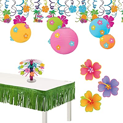 Party City Hibiscus Decoration Kit, Party Supplies, Includes Paper and Foil Decorations and Luau Table Fringe: Kitchen & Dining