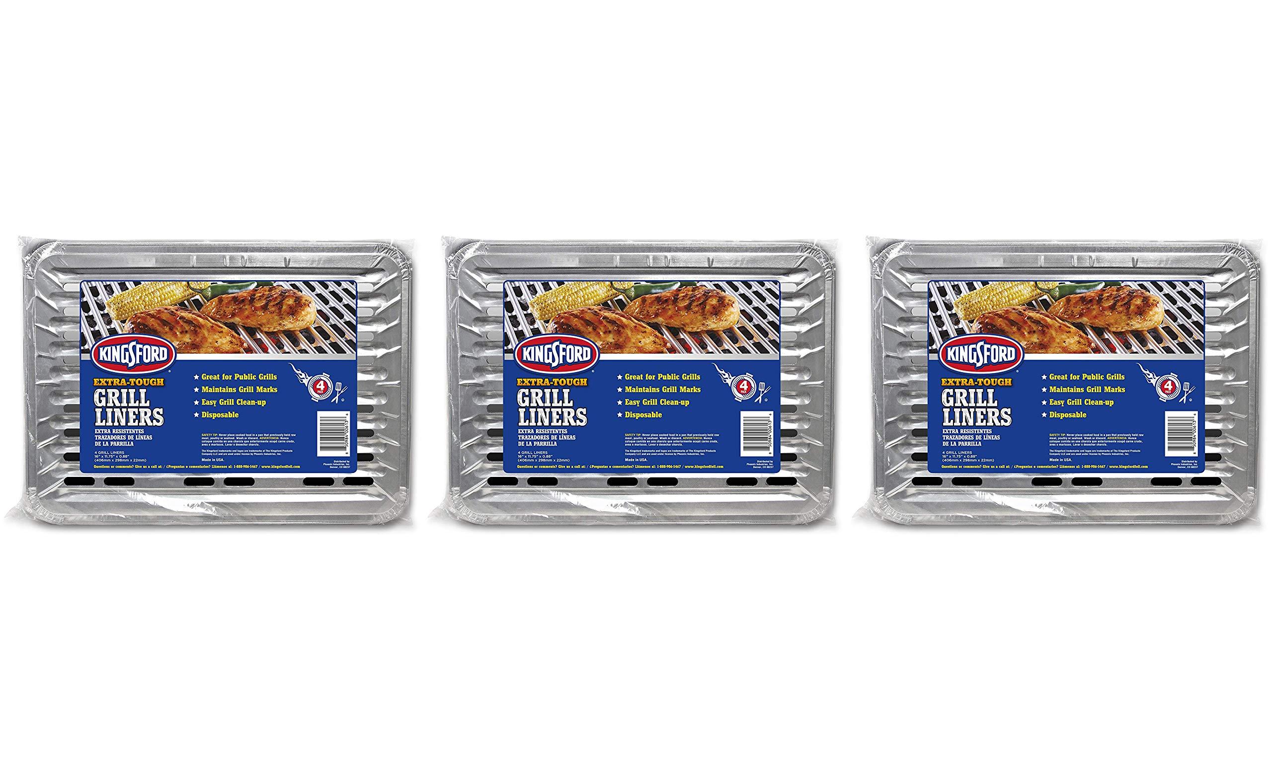 Trinidad Benham 6129994100 Kingsford Extra Tough, 4 Pack Grill Liner, 16'' x 11.75'' x 0.88'' Silver (Тhree Pаck)