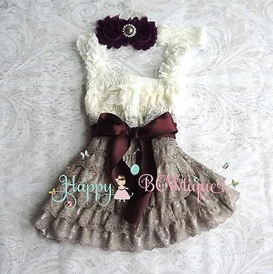 Ivory Grey Dark Plum Baby Girl's Lace Dress set, Girl Dark Plum Lace Dress