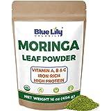 Blue Lily Organics Organic Moringa Oleifera Leaf Powder 1 Pound (16 Oz) 100% Pure Certified Organic - Natural Energy & Metabo