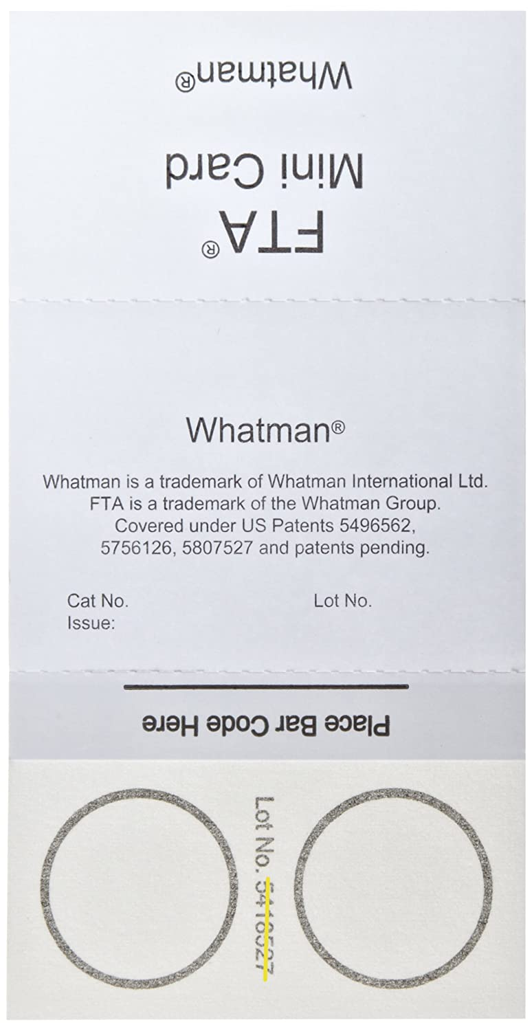Whatman WB120055 FTA Mini Card 2-Sample Areas, 2 x 125 microliter Size (Pack of 100)