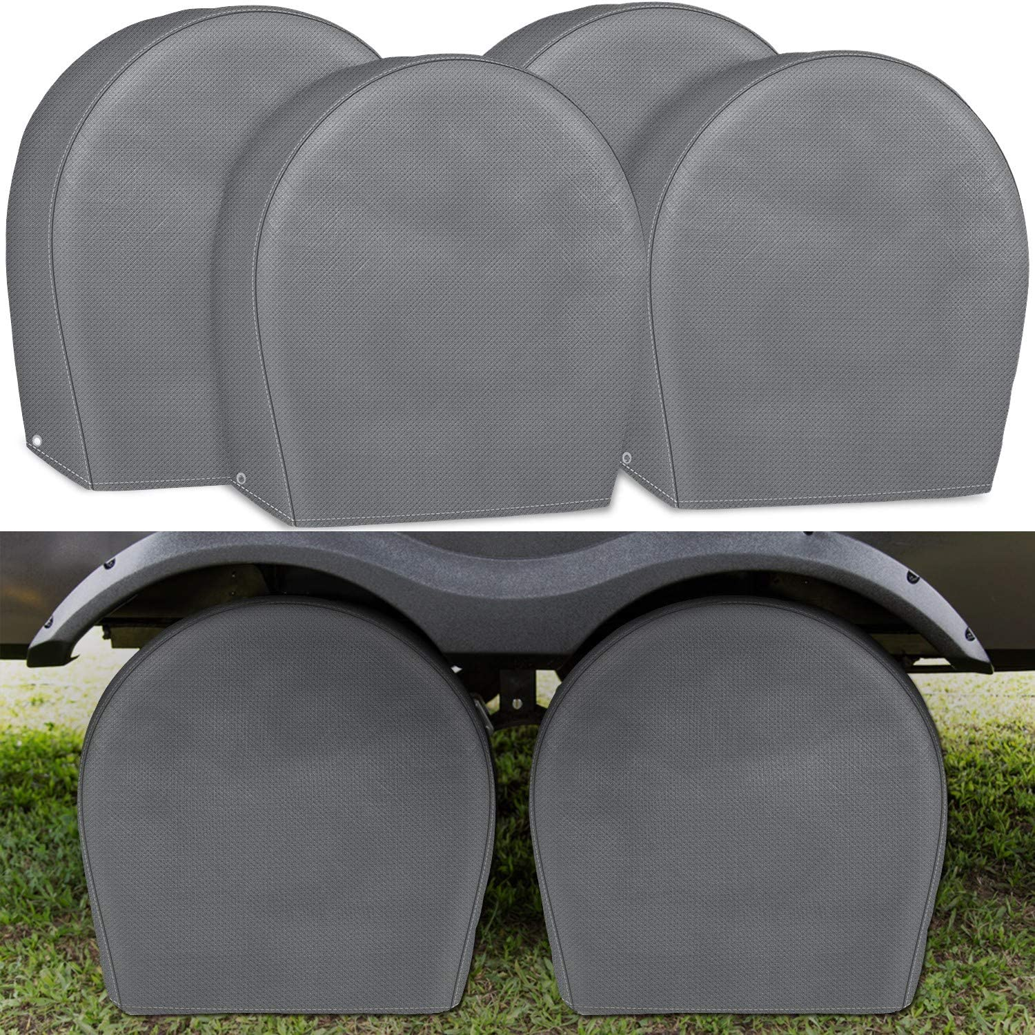 Jeep Explore Land Durable Tire Cover Set of 4 Motorhome SUV UV Resistant and Water Resistant Tire Protector for RV Travel Trailer Wheel Covers Fits Tires Diameters 29-31.75 inches