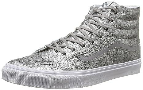 45376af588ff83 Buy Vans Women s Sk8-Hi Slim Foil Metallic Skate Shoes-Foil Metallic ...