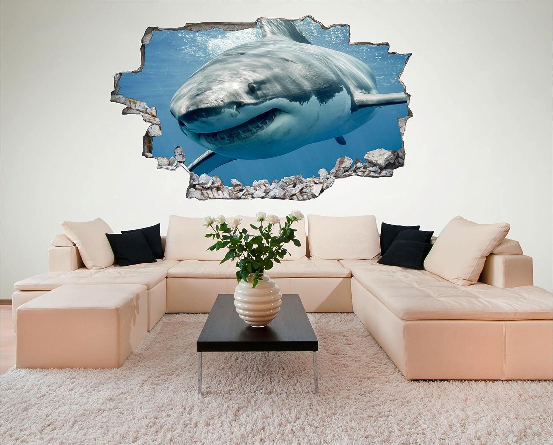 3d Fußboden Hai ~ Desfoli hai shark d look wandtattoo cm wanddurchbruch