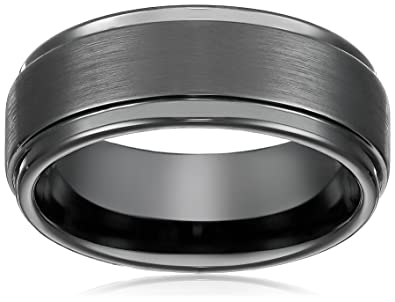 8mm Black High Polish Tungsten Carbide Mens Wedding Band Ring In Comfort Fit And Matte Finish