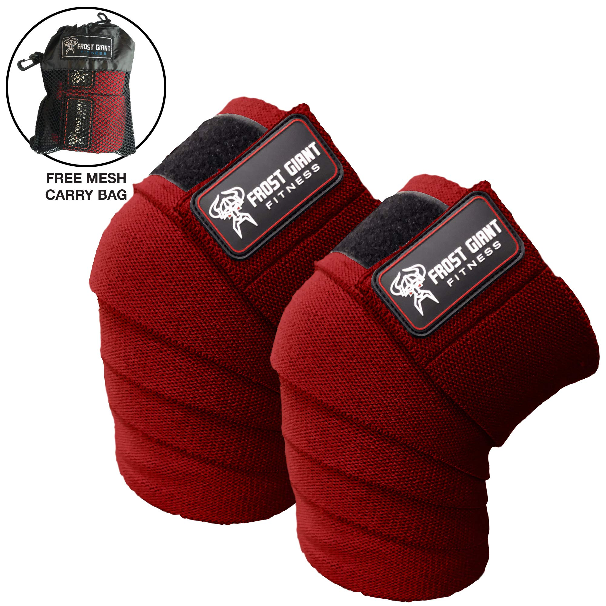Frost Giant Fitness: 80'' Knee Wraps Set for Weightlifting, Bodybuilding, Lifting and Gym Workouts - Heavy Duty Exercising Knee Compression & Elastic Support for Men & Women. Includes Carry Bag! Red