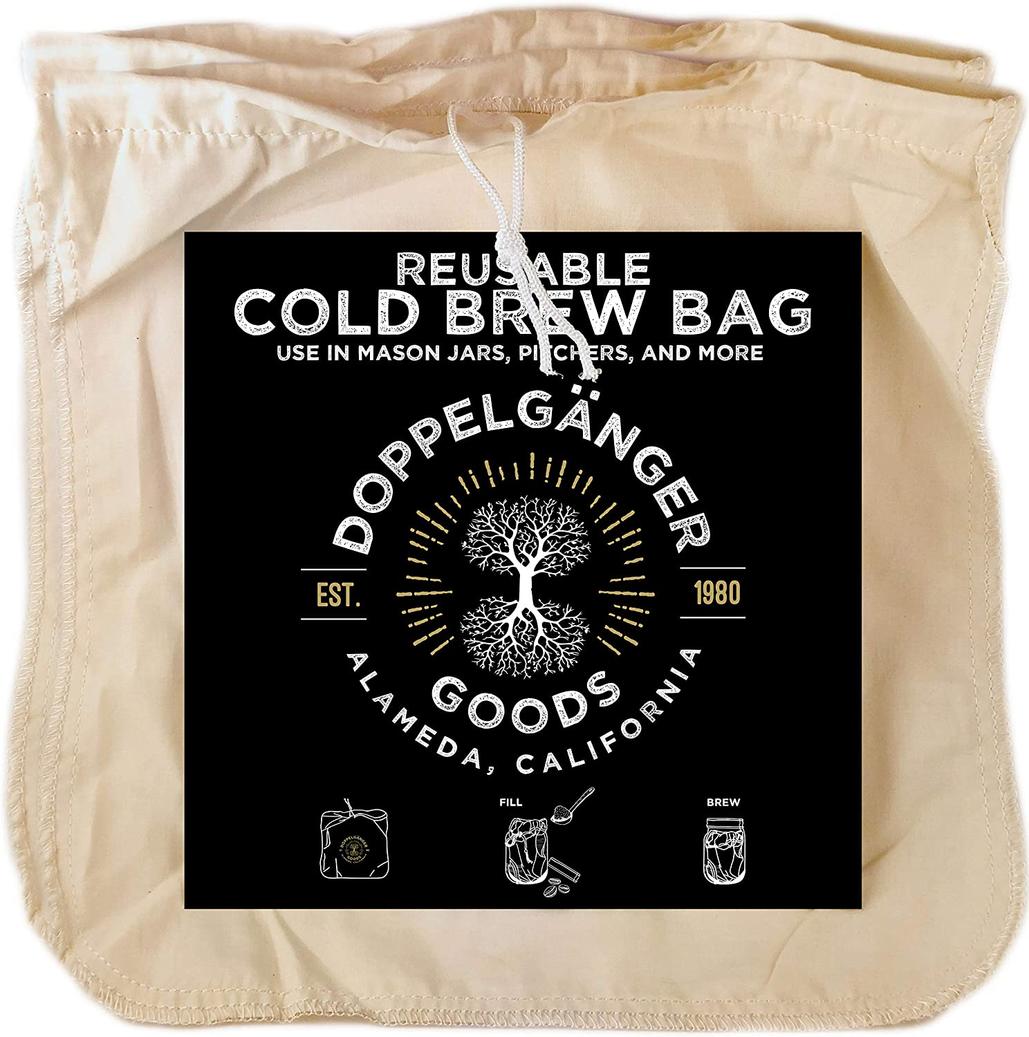 "(2-Pack, Large 12"" x 12"") Organic Cotton Cold Brew Coffee Bag - Designed in California - Reusable Coffee Filter with EasyOpen Drawstring Cold Brew Maker for Pitchers, Mason Jars, Toddy Systems"